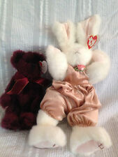"""2 Beanie Baby Attic Treasures Collection Vintage """"Sara"""" and """"Beargundy"""" Rabbit"""