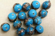 50gms Handmade Lamp-work Beads 12mm Round Turquoise Base & Gilded Detail - lot 2