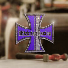Blitzkrieg Racing Iron Cross Sticker Aufkleber Glitter Metalflake lila 70mm