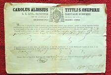 G290-JESI, CERTIFICATO CARDINALIZIO DI CARLO LUIGI MORICHINI, 1871