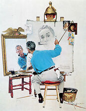Norman Rockwell Print Triple Self Portrait 9 X 11 Inches in Size