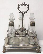 Cruet Vinaigrette Set Rare Glass Antique Footed Victorian Ornate Silver Plate
