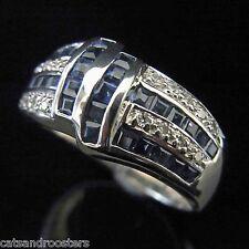 Diamond Sapphire 14k White Gold Ring Wide Band Estate Vintage Anniversary