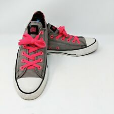 Converse Women's Chuck Taylor All Star Low Top Size 7 Gray Pink Laces Leopard