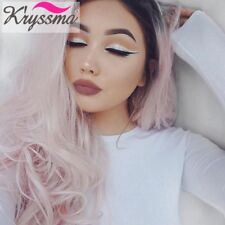 Heat OK Ombre Pink Wig Long Wavy Synthetic Hair Lace Front Wigs for White Women