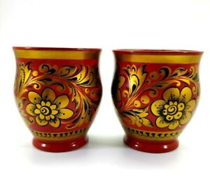 VTG Russian Khokhloma Damask Floral Red Black Gold Lacquer Wood Cups Set of 2