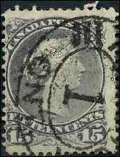 Canada #29 used F 1868 Queen Victoria 15c grey violet Large Queen Oval CV$30.00
