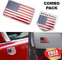 ALUMINUM American Flag Emblem Sticker 3D Decal For Auto, Car, Truck COMBO PACK