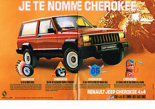 PUBLICITE ADVERTISING  1985    RENAULT JEEP CHEROKEE  4X4  ( 2 PAGES)