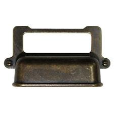 Vintage Brown Metal 65mm x 38mm Drawer Locker Name Tag Holder Handle SKP4774