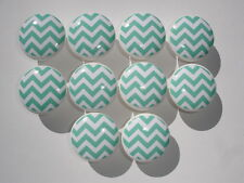 Aqua and White Chevron Dresser Drawer Knobs--Set of 10