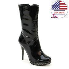 Brieten Women's High Heel Ankle Boots Pumps Stiletto Round Toe Mid Calf  Boots
