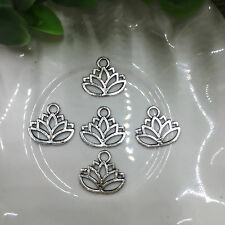 Tibetan Silver Lotus Flower Charm Pendant Bead Jewellery Making 15pcs