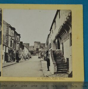 1860s Stereoview Photo Conway Castle Street Francis Bedford N Wales