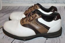 Callaway Golf Shoes Spikes Mens 8 White Brown Saddle Sports Leather Athletic