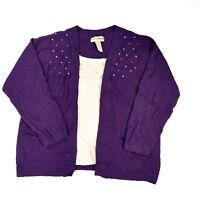 Cathy Daniels Pullover Layered Sweater Womens Plus 2X Purple Embelished