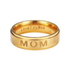 Stainless Steel Love You MOM Titanium Engraved Ring Mothers Day Jewelry SZ 6-12