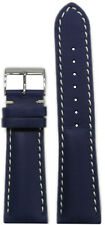 24mm Panatime Blue Calf Leather Watch Band w White Stitch For Breitling 125/75