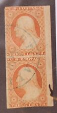 Scott 10A - 3 Cents Washington - Used - Pair With Clean Cancel - SCV - $280.00