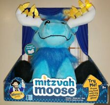 New Nip Mitzvah Moose Lights Up Works! Candles On Antlers Toy Boy Girl book too!