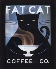 FAT CAT COFFEE CO by Ryan Fowler 13x16 Advertisement Ad Sign Black FRAMED PRINT