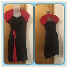 dance dresses or ice skating dresses black and red adult medium