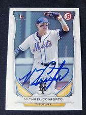 Michael Conforto signed 2014 first Bowman Topps rookie card RC Mets auto proof