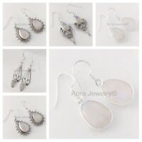 Rainbow Moonstone Solid 925 Sterling Silver Earrings Beautiful Mothers Day Gift