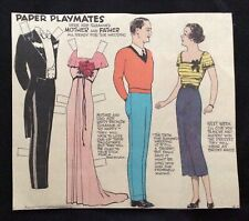 Paper Playmates, Sunday Funnies Paper Doll, 1936, Uncut Newspaper Section, Rare!