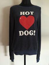 New Wildfox Hot Dog Soft Navy Blue Sweatshirt S MADE IN USA