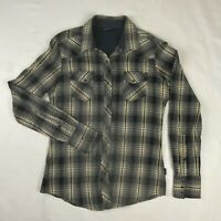 Kuhl Womens Small Western Pearl Snap Gray Plaid Long Sleeve Shirt
