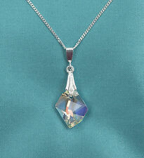 Collar de plata esterlina 18 pulgadas 925 W Swarovski Cristal claro AB cósmico Colgante