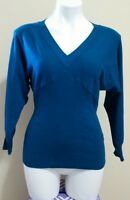 Cato Women's Blue V-Neck Dolman 3/4 Sleeve Rayon Sweater Size L
