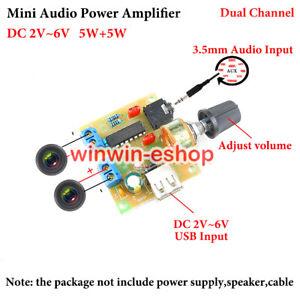 Mini Audio Power Amplifier Board DC 3V~6V 5V 5W+5W Dual Channel 3.5MM AUS Module