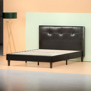 Zinus Kitch Faux Leather Detail-Stitched Platform Bed with Wooden Slat Support