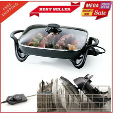 """Deluxe Jumbo Electric Non-Stick 16"""" Electric Frying Skillet Pan Dishwasher Safe"""