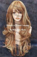 Heat Resistant Flat Iron SAFE Long Wavy Wig WBKT 27-613 Strawberry Blonde Mix