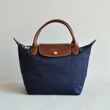 Free Post Auth Longchamp SMALL Navy Blue Le Pliage Nylon Short Handle Bag