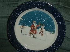 Vtg Otagiri Japan Salad Plate 8 1/2 Diameter Emily Hollinger Santa Snowman Ec