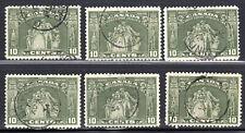 Canada: #209 10c Olive Green Loyalists 1934 CDS Cancels Used LOT (x6) e