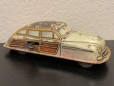 New ListingVintage Antique Marx Tin Lithographed Wind Up Woody Toy Car Wooden Wheels 7Ja2
