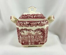 Mason's Ironstone China Vista England Pink Red Square Fan Sugar Bowl with Lid
