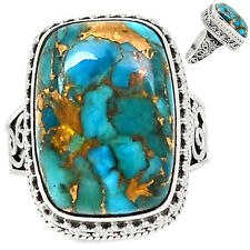 Blue Copper Turquoise 925 Sterling Silver Ring Jewelry S.7.5 BCTR386