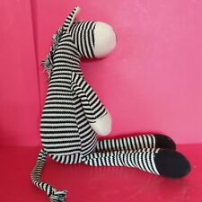 Black & White Striped Plush Knitted Sock Zebra