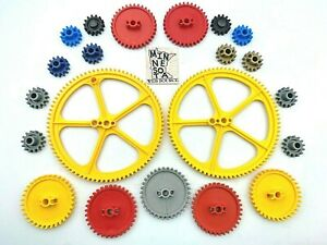 "21 Knex Gear Lot - 5"" Yellow Crown 2.25"" Medium 1"" Small - K'nex Education Parts"