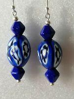 Vintage Blue Venetian MURANO MILLEFIORI Bead 925 Sterling Silver Dangle Earrings