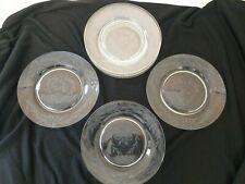 "8  Etched Glass Heart Plates Dessert Salad 7"""