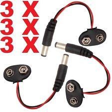 3x PP3 9 V DC batteria clip 2.1 mm Cavo di Alimentazione Jack Connettore Per Arduino Fai da te CCTV