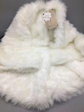 "Nicole Miller Off White Faux Fur 52"" Christmas Tree Skirt Luxury Designer NEW"