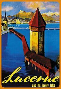 Lucerne lovely Lake Blechschild schild gewölbt Metal Tin Sign 20 x 30 cm F0200-X